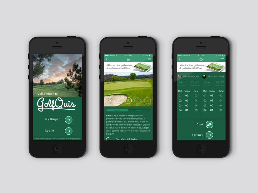 Screendumps fra app'en GolfQuis